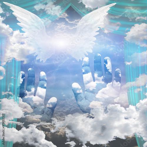 Angel Wings and Hands Reach Up Toward Heaven Fototapet
