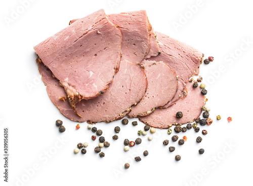 Fototapeta Sliced roast beef. Tasty fresh meat. obraz