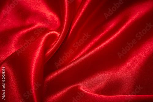 obraz PCV Valentines Day Background, Valentine Heart Red Silk Fabric, Wedding Love - Image
