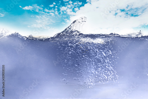Fototapety, obrazy: abstract underwater bubbles in ocean underwater simple design