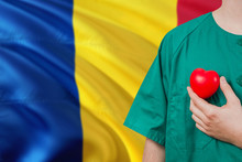 Romania Veterinary Clinic Concept. Veterinarian Is Holding Plastic Heart In Green Uniform On National Flag Background. Animial Love Theme.