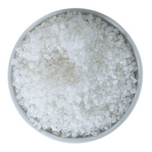 Sea Salt In Bowl Isolated On W...