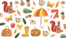 Cute Autumn Watercolor Backgro...
