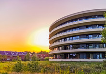 Modern Apartments Building During Sunset In Apeldoorn City, The Netherlands, Dutch Architecture