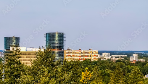 view on the city buildings from the forest of apeldoorn, popular dutch city, The Canvas Print