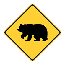 Bear Warning Road Sign