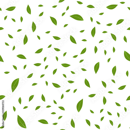 seamless-pattern-of-tea-leaves-on-white-background-stock-vector-illustration