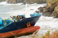 Ship Tanker Wreck On Cliffs Of...