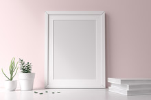 Mockup White Frame On Pink Wall