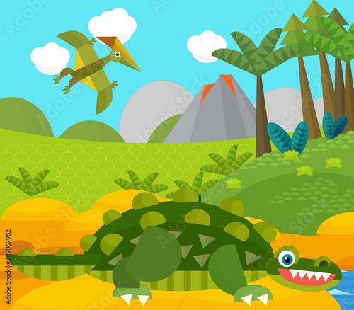 Wall Murals Dinosaurs Cartoon happy dinosaur near some river and volcano - illustration for children