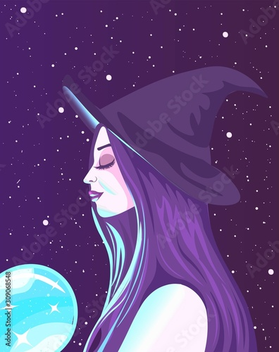 Foto Meditating wiccan witch with purple hair holding a glowing neon crystal ball
