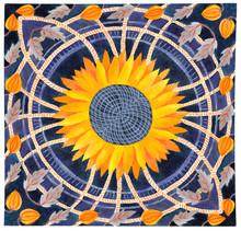 Ornament Square Handkerchief Sunflower Physalis