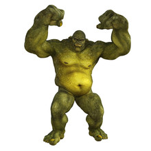 Large Angry Ogre Isolated On White, 3d Render.