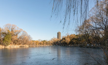 Panorama View Of Frozen Weiming Lake In Winter With Historical Boya Pagoda Or Tower On Background In Peking University, Haidian, Beijing, China.