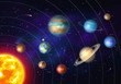 Colorful solar system with nine planets which orbit sun. Galaxy discovery and exploration. Realistic planetary system in deep space vector illustration. Astronomy and astrophysics science poster.