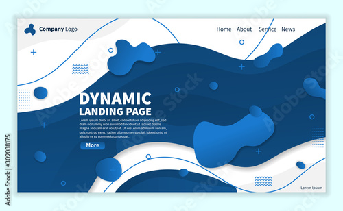 Photo  Blue Dynamic Abstract Landing Page Background