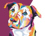 Colorful Dog style in wpap pop art