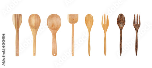 Fotografía Wooden Spoon and fork set collection Isolated on White Background with clipping