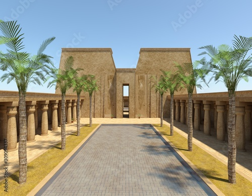 Egyptian Palace 3D Illustration Fantasy Old Kingdom Canvas Print