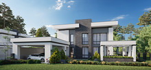 Modern Private House, 3d Rende...