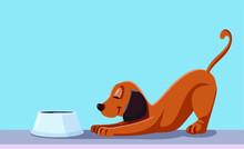 Dog Eating Vector Cartoon Illustration