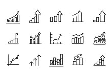 Simple Set Of Growth Modern Thin Line Icons.