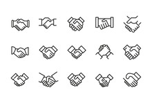 Stroke Line Icons Set Of Hands...