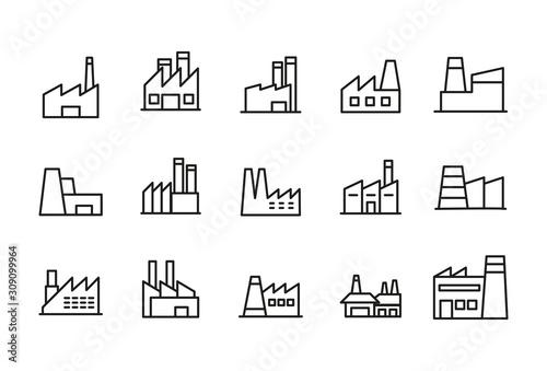 Stampa su Tela Stroke line icons set of factory.