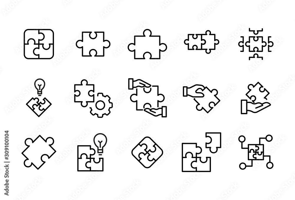 Fototapeta Stroke line icons set of solution.