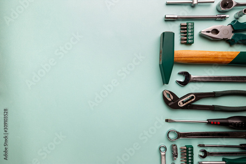 Obraz Set of tools over blue background, top view with space for text - fototapety do salonu