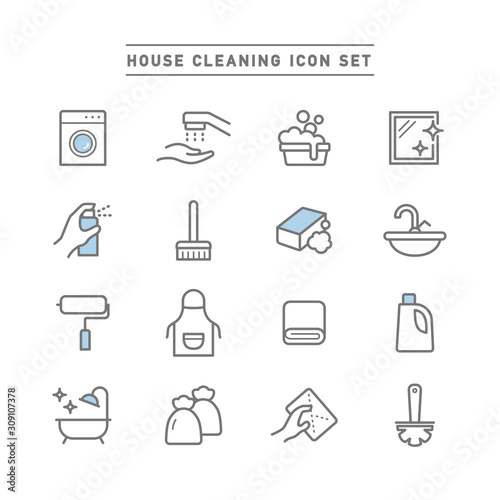 HOUSE CLEANING ICON SET Fototapet