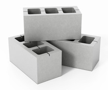 Concrete Gray Bricks Isolated On White Background. 3D Illustration