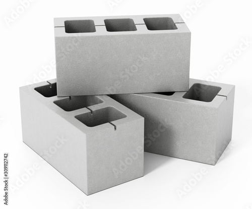 Concrete gray bricks isolated on white background Tableau sur Toile