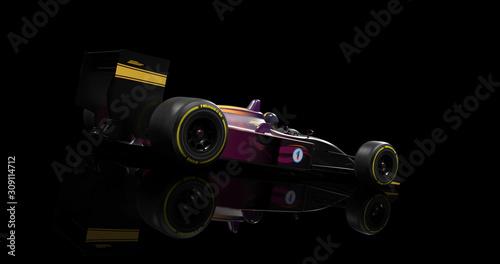 Fototapeta Generic Racing Car Speeding On Black Background. 3D Illustration Render obraz na płótnie