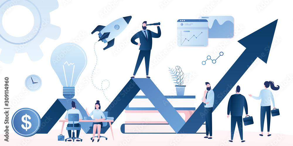 Fototapeta Corporate governance concept. Business leadership, managing skills, leadership training plan and success achievement.