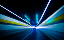 Abstract Car Driving Through Tunnel.