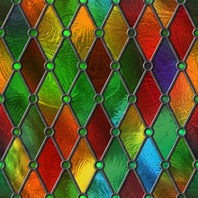 Stained Glass Seamless Texture, Colored Glass With Rhombus Pattern For Window, 3d Illustration
