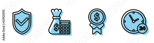 Cuadros en Lienzo  Set line Reward for good work, Shield with check mark, Calculator with money bag and Clock 24 hours icon
