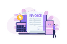 Online Invoice Payment, Electronic Invoice, Money Loan Contract, Financial Management. Modern Flat Vector Illustration
