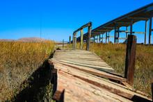 Old And Broken Wooden Bridge Path