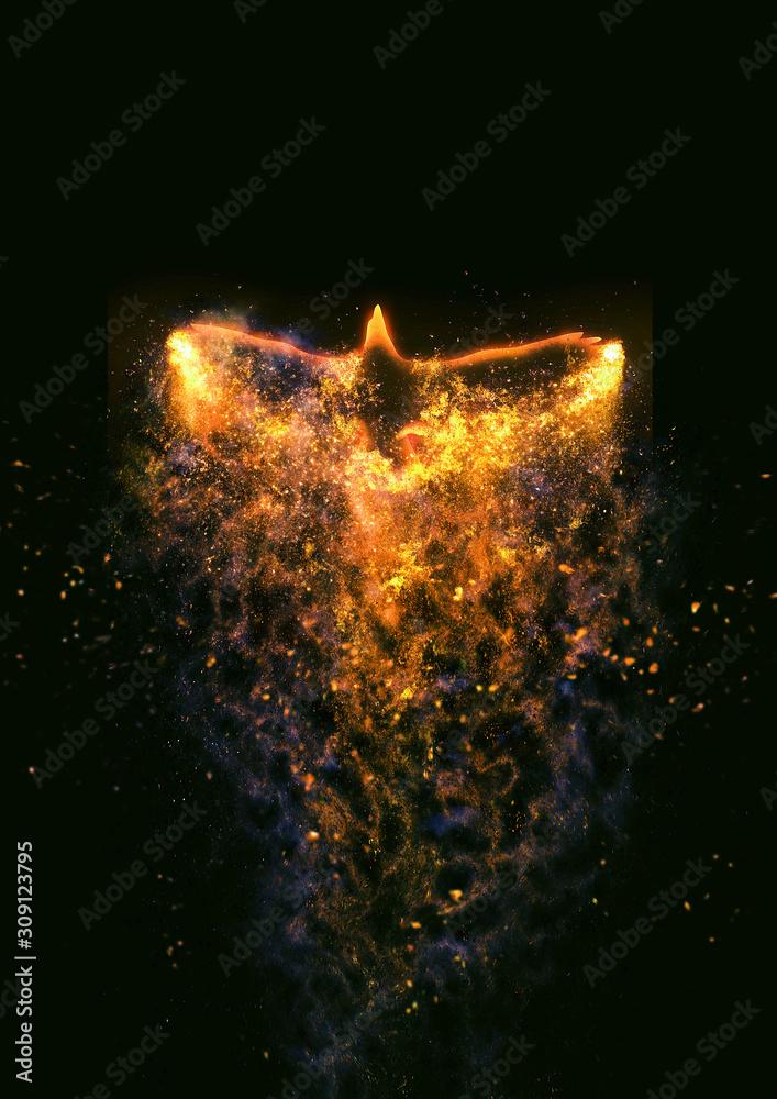 Fototapeta 羽ばたく抽象的な火の鳥