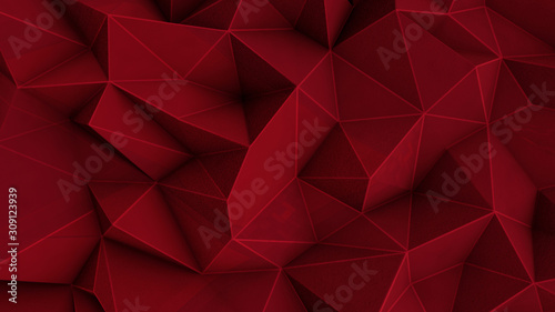 Abstract polygonal red background - 309123939