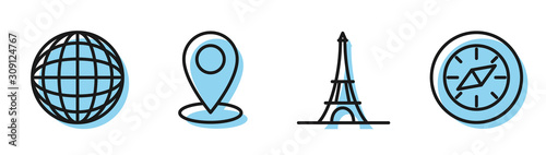 Cuadros en Lienzo Set line Eiffel tower, Earth globe, Map pin and Compass icon