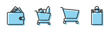 Set Line Shopping Cart, Wallet With Stacks Paper Money Cash, Shopping Cart And Food And Paper Shopping Bag Icon. Vector