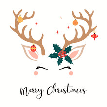 Hand Drawn Card With Cute Reindeer Face, Ornaments Hanging From Antlers, Holly, Stars, Text Merry Christmas. Vector Illustration Isolated Objects On White. Flat Style Design. Concept For Holiday Print