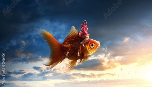 Make my wishes . Mixed media Tableau sur Toile