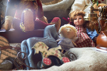 Suitcase With Toys And Dolls (Teddy Bear) . Vintage Style