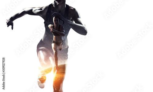 Fotografie, Tablou Athlete woman on white. Mixed media