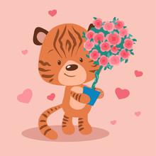 Cute Cartoon Tiger With A Topi...