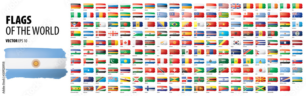 Fototapeta National flags of the countries. Vector illustration on white background